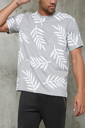 Forever 21 Palm Leaf Print Tee Heather Grey White