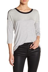 Hip 3 4 Length Sleeve Stripe Tee Black