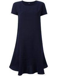 Jil Sander Navy Pleated Trim Dress Blue