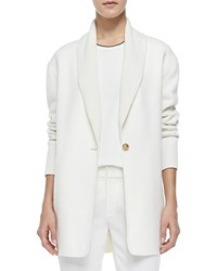 Vince Shawl Collar Knit Blazer Cardigan Winter White