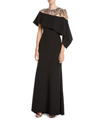 Badgley Mischka Jewel Embroidered Asymmetric Cape A Line Evening Gown Black