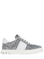 Valentino 20Mm Fly Crew Glitter And Leather Sneakers