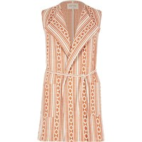 River Island Womens Orange Aztec Print Sleeveless Jacket