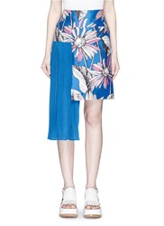 Chictopia Asymmetric Accordion Pleat Floral Print Skirt Blue Multi Colour