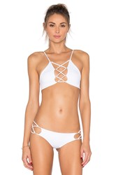 Indah Hapa Lace Up Top White