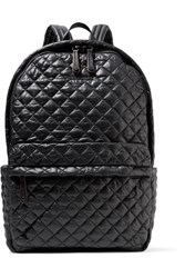 M Z Wallace Mz Metro Leather Trimmed Quilted Shell Backpack Black