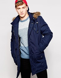 Firetrap Parka With Black Faux Fur Trim Navy