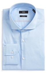 Boss Men's Big And Tall Slim Fit Easy Iron Solid Dress Shirt Lt Pastel Blue