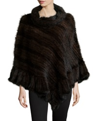 La Fiorentina Knit Mink Fur Poncho W Roll Collar Brown