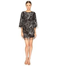 Marchesa Tunic In Tulle W Crystal And Beaded Embroidery Charcoal Women's Dress Gray