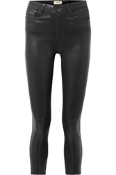 L'agence Margot Cropped Coated High Rise Skinny Jeans Black