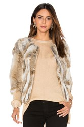 Arielle Lined Rabbit Fur Coat Brown