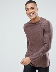 New Look Crew Neck Jumper In Burgundy Burgundy Red