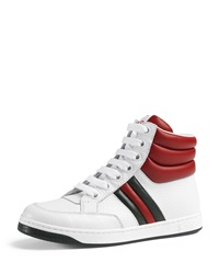 Gucci Ronnie Junior Leather High Top Sneaker White Red Green White Red Green