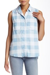 Andrea Jovine Plaid Sleeveless Blouse Blue