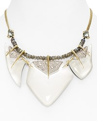 Alexis Bittar Swarovski Crystal Encrusted Abstract Petal Bib Necklace 16 White Silver