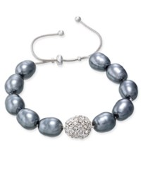 Charter Club Silver Tone Imitation Pearl Pave Adjustable Bracelet Only At Macy's