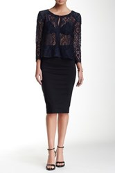 David Lerner Back Zipper Midi Skirt Black