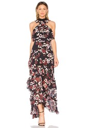 Nicholas Bordeaux Floral Gown Black