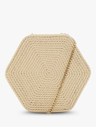 Dune Edalta Woven Hexagonal Chain Strap Bag Natural