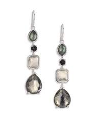 Ippolita Rock Candy Black Tie Semi Precious Multi Stone And Sterling Silver Mixed Linear Drop Earrings Silver Multi