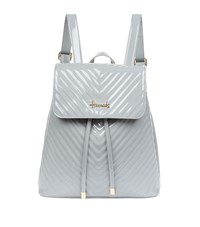 Harrods Patent Chevron Backpack Grey