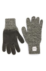 Men's Upstate Stock 'Ragg' Wool Blend Knit Gloves With Deerskin Leather Trim Grey Black Charcoal