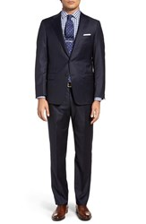 Hickey Freeman Men's Big And Tall Classic Fit Stripe Wool Suit Navy