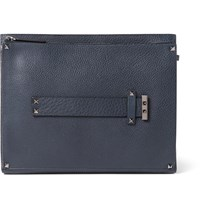 Valentino Rockstud Textured Leather Document Holder Navy