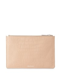 Whistles Matte Small Croc Embossed Leather Clutch Nude Silver