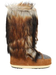 Moon Boot Classic Faux Fur Tartan Boots Whiskey