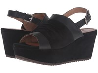Trask Shari Black Italian Suede Black Italian Washed Sheepskin Women's Wedge Shoes
