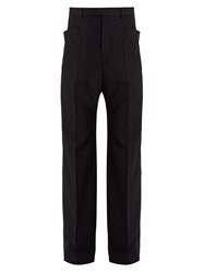 Rick Owens Dropped Crotch Wool Trousers Black