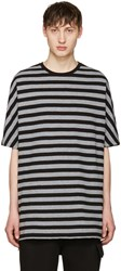 Diesel Black Gold And Grey Striped T Shirt