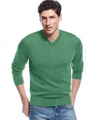 Tommy Hilfiger Signature Solid V Neck Sweater Mint Heather