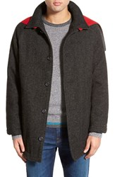 Men's Woolrich 'Mill' Water Resistant Herringbone Wool Blend Car Coat With Detachable Hood