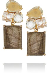 Bounkit Gold Tone Multi Stone Earrings Metallic