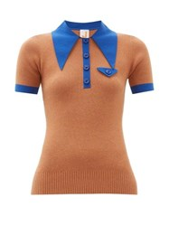 Joostricot Oversized Collar Cotton Blend Polo Shirt Brown