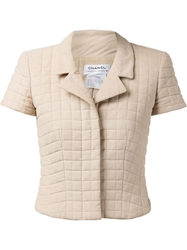 Chanel Vintage Quilted Cropped Jacket Nude And Neutrals