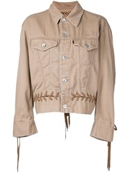 G.V.G.V. Denim Lace Up Jacket Brown