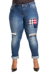 Poetic Justice Plus Size Women's Steph Plaid Patch Ripped Knee Jeans