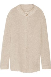 Simon Miller Tassa Distressed Open Knit Cardigan Cream