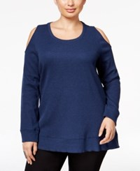 Styleandco. Style Co. Plus Size Cold Shoulder Thermal Top Only At Macy's Indigo Blue Heather