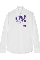Tomas Maier Printed Cotton Voile Shirt White