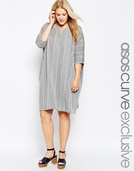 Asos Curve T Shirt Dress In Stripe And Chevron Jacquard Greywhite
