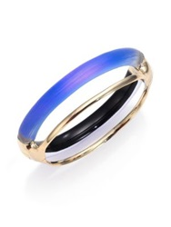 Alexis Bittar Sport Deco Lucite Double Band Bangle Bracelet Gold Blue