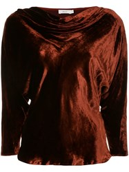 A.L.C. Draped Crushed Velvet Top Red