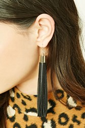 Forever 21 Faux Leather Drop Earrings Gold Black