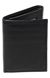 Men's Cathy's Concepts 'Oxford' Personalized Leather Trifold Wallet Black Black M