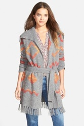 Hinge Geo Print Sweater Coat Gray